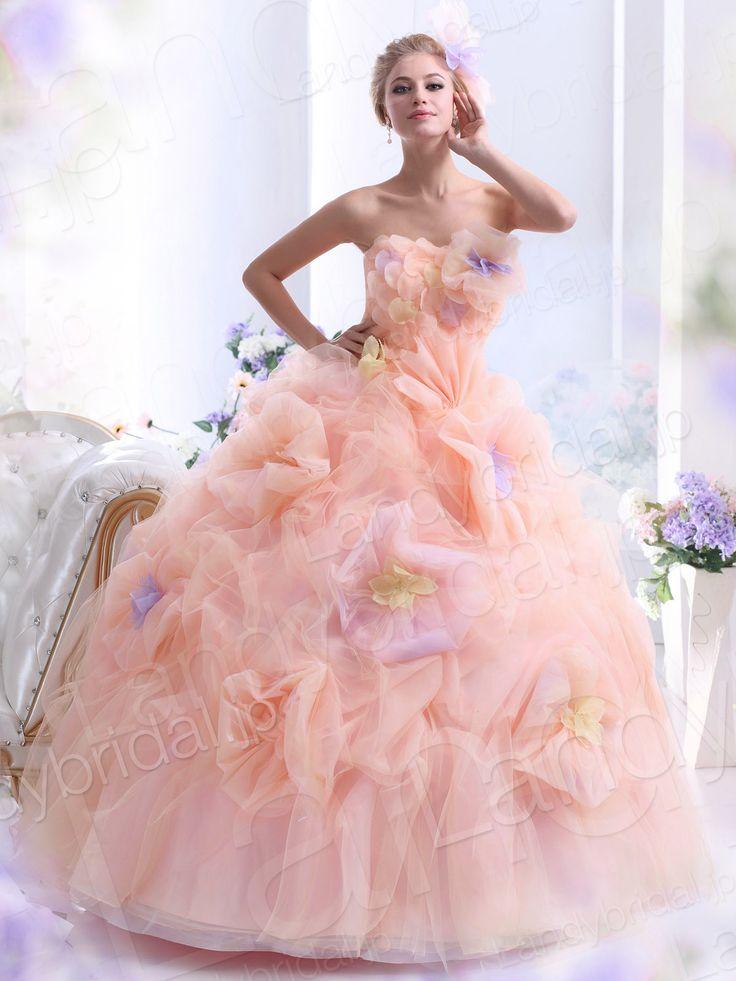 カラードレス プリンセスライン ビスチェ フロア チュール オレンジ ウェディングドレス B40155