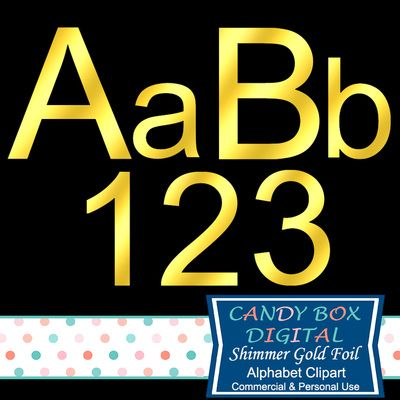 Shimmer Gold Foil Alphabet Clipart by Candy Box Digital. Great for scrapbooks, invitations, blogs, websites, graphic designs, etc.