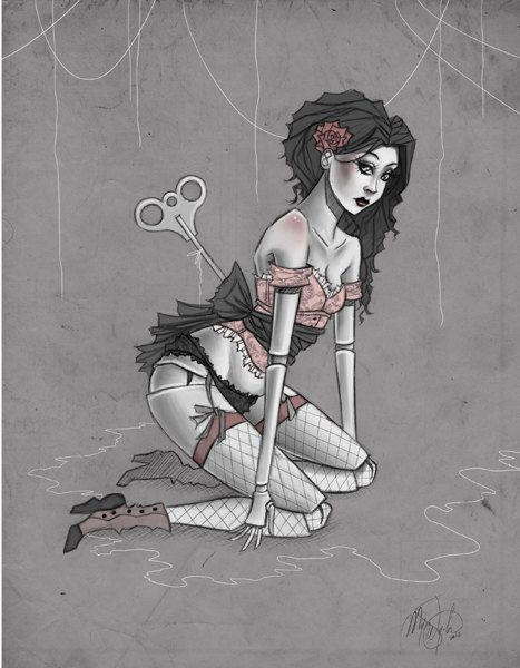 "8x10 fine art archival print - ""Blush"" - illustration of a sexy Victorian wind up doll - Gothic pin up drawing - burlesque, cabaret on Etsy, $25.53 AUD"