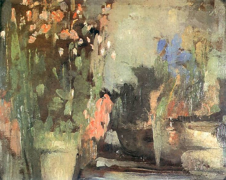 Olga Boznańska | Kwiaty na tarasie, 1903 (Flowers on the terrace, 1903).