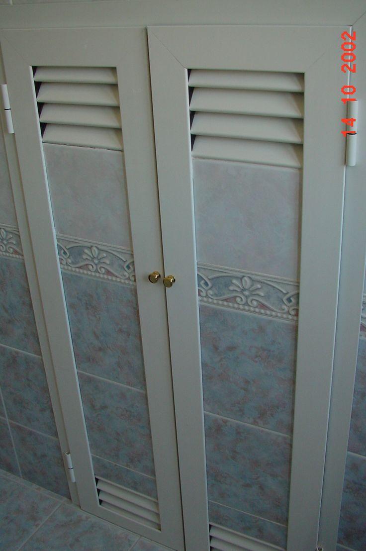 armadietto in alluminio copri-lavatrice rivestito in mattonelle e ventilato
