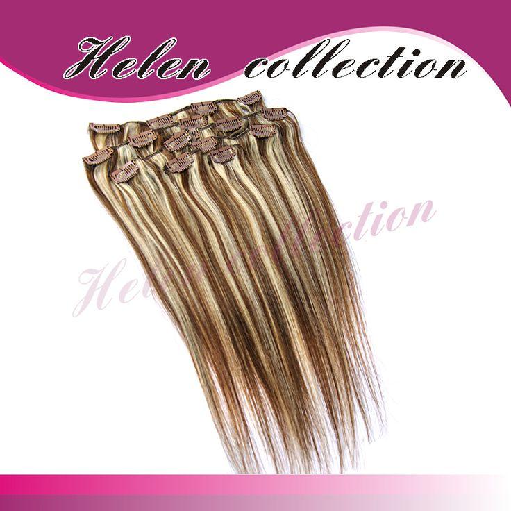Наращивание волос бесплатная доставка 4 и 613 # браун и светлые цвета клип в s 70 г прямо 7 шт. установить клипа в бразильской