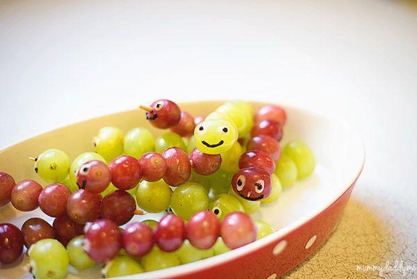 Bug Themed Birthday Party...   Grape caterpillars for bug birthday party ideas.   #birthdaypartythemes #birthdaypartyideas #bugparty