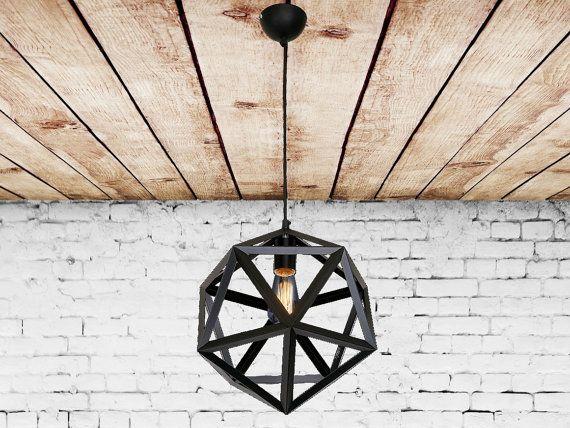 IJzeren hanger met licht meubilair veelhoek Vintage industriële Chandelier hanger licht lantaarn kroonluchter moderne verlichting keuken kroonluchter
