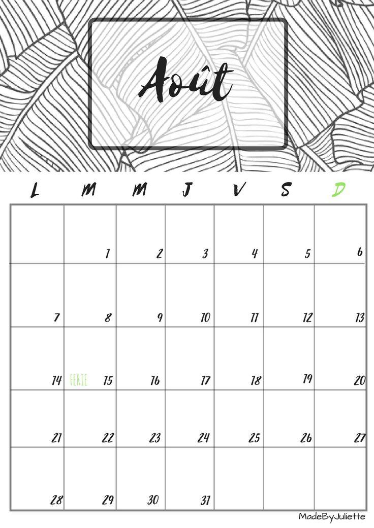 Calendrier - Aout 2017 - Imprimes le calendrier pour customiser ton agenda! A VOIR : ma vidéo sur youtube