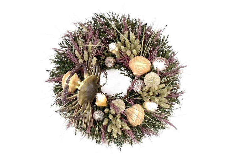 "18"" Beach Crab Wreath - Made of German statice, lavender avena, phalaris, seashells, grass, faux a crab and twigs. ($59.00/$90.00 retail)"