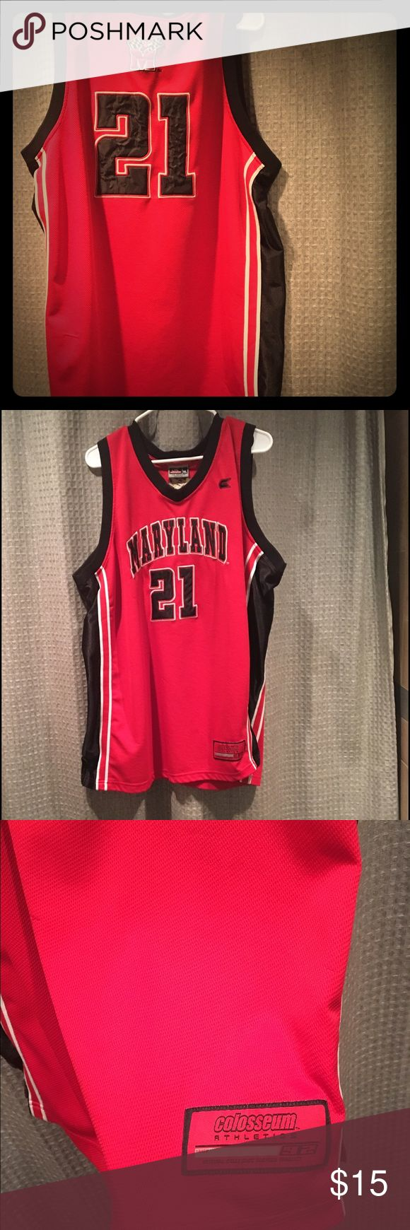 Maryland Colosseum basketball jersey🏀 This college basketball jersey has been hanging around for quite a few years, this was Grahams number jersey who scored the the single game mark of 44 points during a North Carolina game. The record still stands 🏀 I just figured I'd give a little history for anyone who isn't a basketball fan! I'm from Pittsburgh so this jersey has to go!! Of course it has some snags shown in the picture! Priced low for that reason and because I'm a Pittsburgh girl…