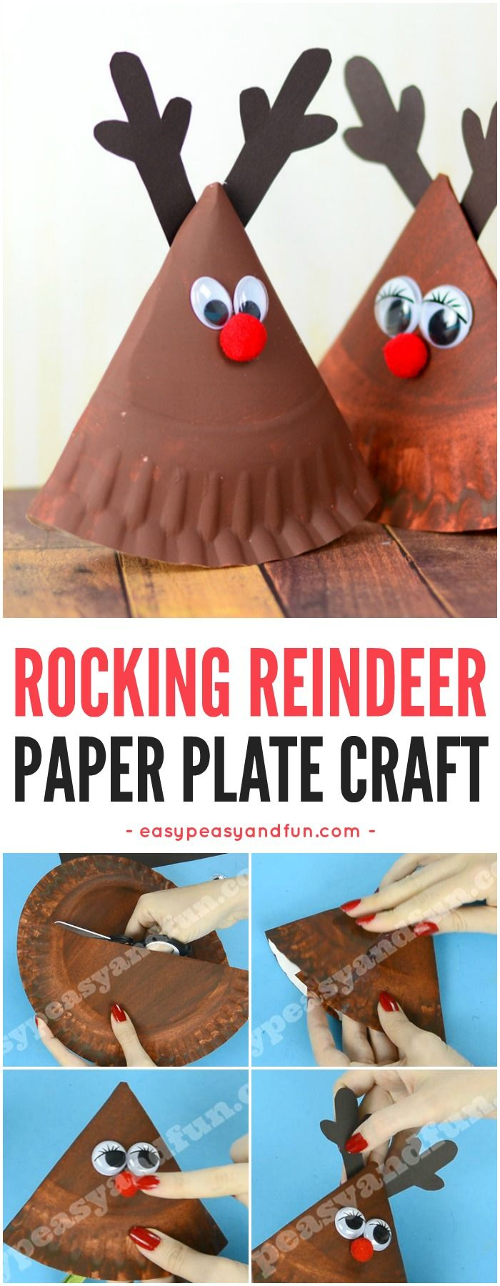 Cute Rocking Paper Plate Reindeer Craft for Kids. Super Fun Christmas Craft Idea for Kids to Make.