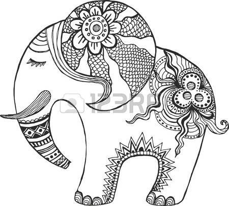 elefante hindu: Elefante indio pintado a mano. Vectores