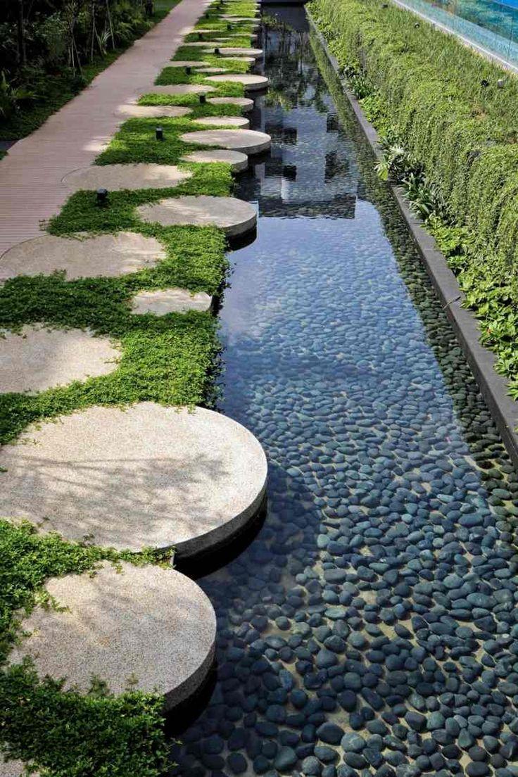 étang de jardin décoratif avec galets gris à côté de l'allée
