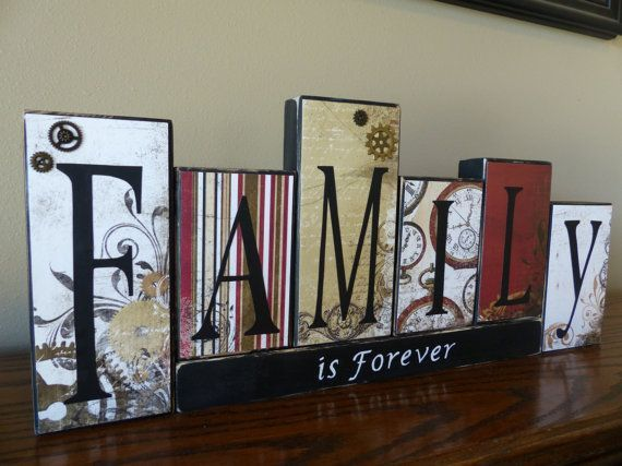 Family Wood Blocks for your Mantel Clocks and Gears Family is Forever Block Letters Rustic Home Decor Great Personalized Wedding Gift Idea