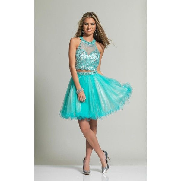 Dave and Johnny 2180 Homecoming Dress Mini High Neckline Sleeveless ($280) ❤ liked on Polyvore featuring dresses, aqua, formal dresses, 2 piece prom dresses, two piece dresses, prom dresses and mini dress