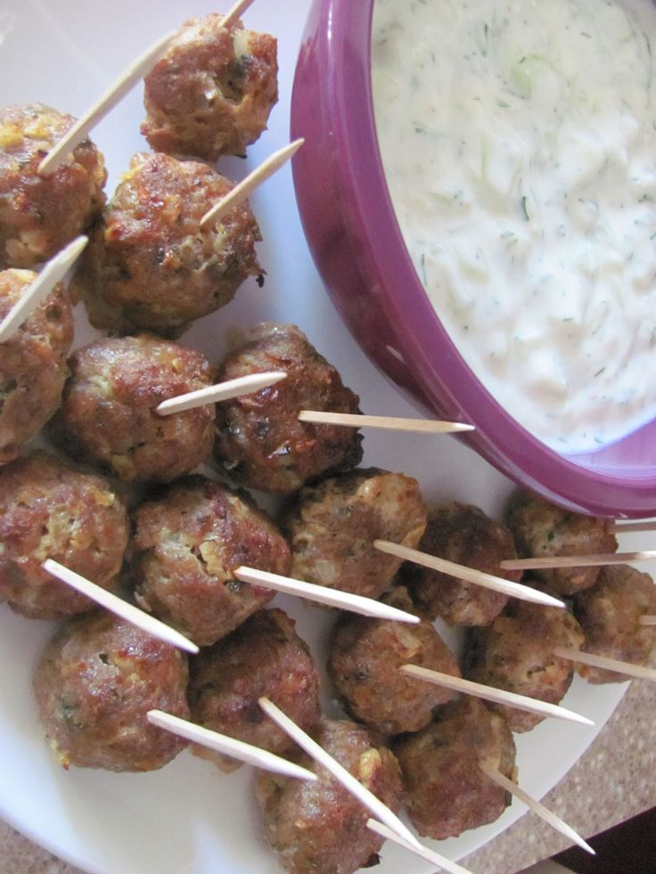 Turkish Kofte Meatballs Today's recipe was inspired by a Turkish Kofte kabob, which is made with ground lamb and scented with lots of warm spices.  To lighten it up I used half lamb and half lean beef and baked them and served them with Skinny Tzatziki as an appetizer and then had them the next day wrapped up in a pita with fresh veggies.