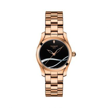 T112.210.33.051.00 Μικρό γυναικείο ρολόι TISSOT T-WAVE σε μαύρο καντράν με mother of pearl και ροζ επίχρυσο μπρασελέ | Ρολόγια TISSOT στο Χαλάνδρι ΤΣΑΛΔΑΡΗΣ #tissot #ρολοι