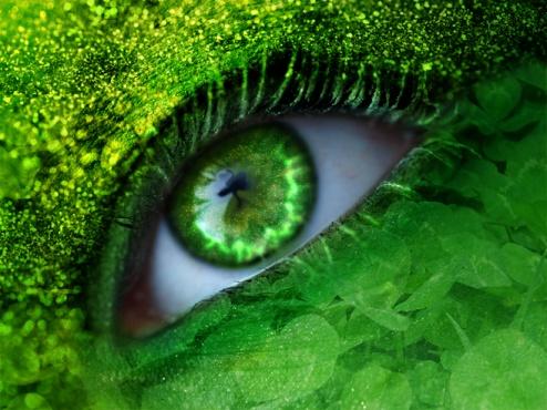 All green makeup