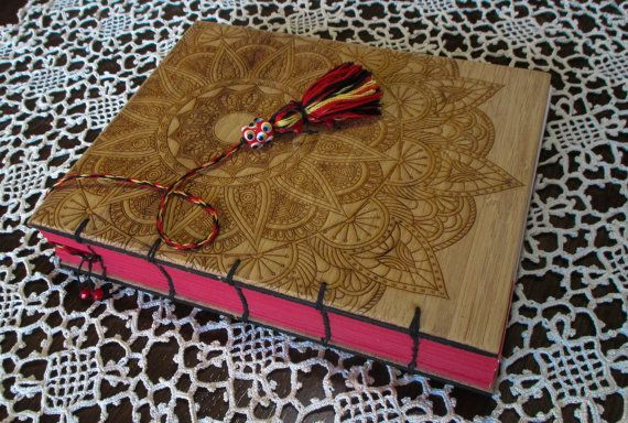 Handcrafted Journal - Hand bound Blank Journal in Coptic Stitch - Engraved Bamboo Covers - USA Made. RockPaperLaser.etsy.com