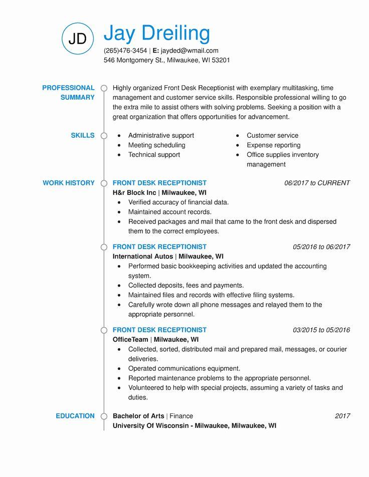 20 Front Desk Medical Receptionist Resume in 2020
