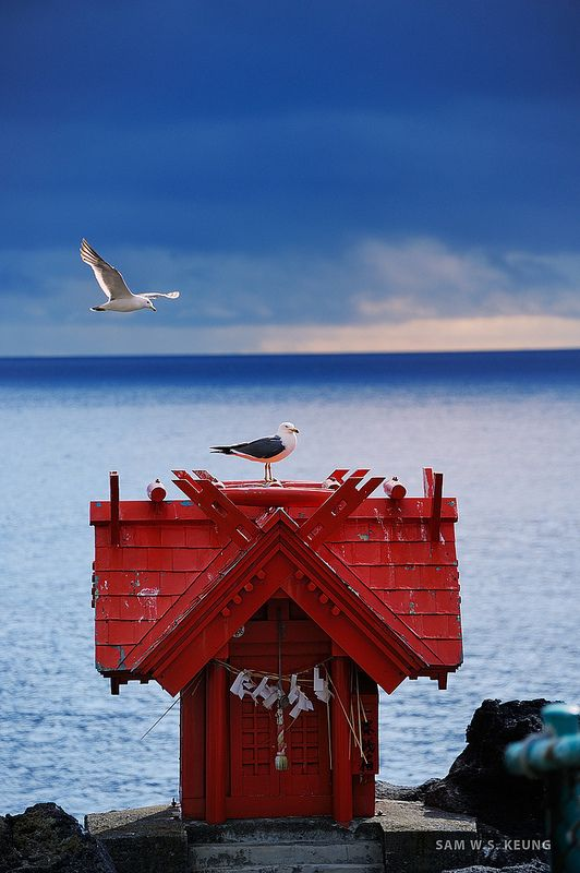利尻島 Rishiri Island is in island in the Sea of Japan off the coast of Hokkaido, Japan.