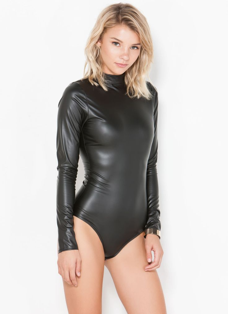 Something Sexy girls black leather body suits remarkable, very