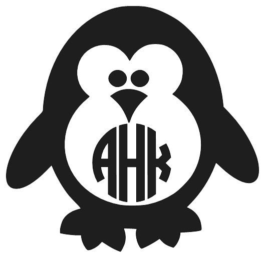 Penguin Decal Monogram Decal Personalized Penguin Decal