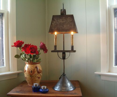 Dover tin table light this tin table light would be great to use on a primitive piece of furniture side table or buffet table