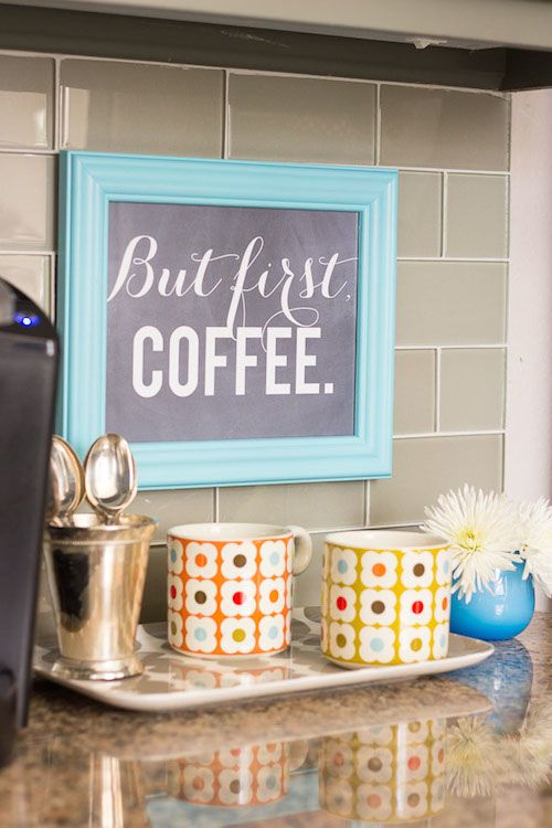 Framed art for kitchen coffee station. Love the home decor ideas in this Living With Kids post.