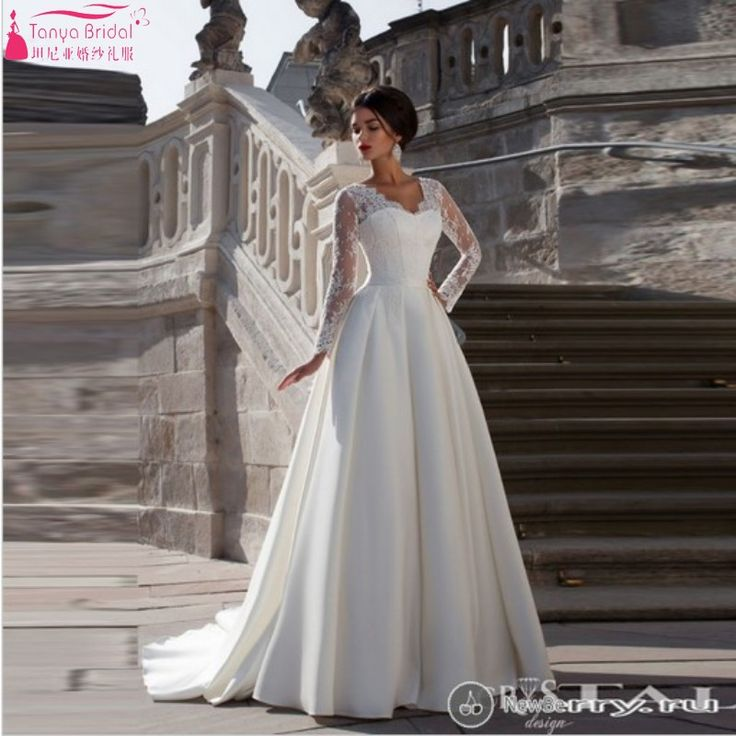Find More Wedding Dresses Information About Full Sleeve White Ivory Satin