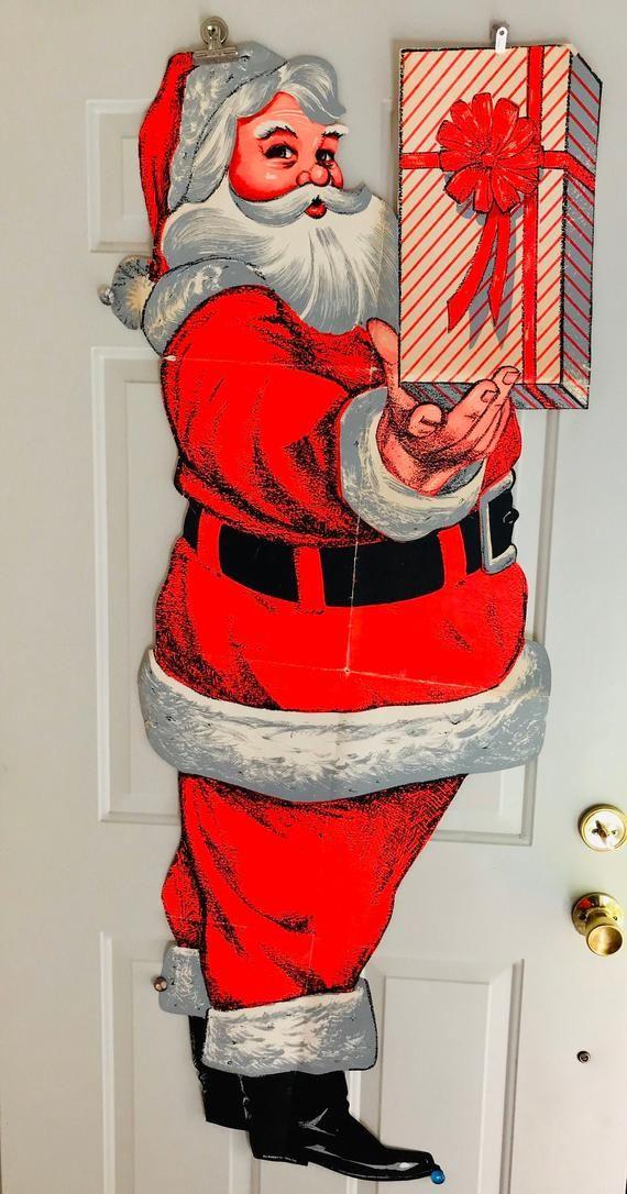 Vintage Santa Door Christmas Decoration Door Hanger Cover Huge Paper Santa Christmas Door Decorations Christmas Decorations Vintage Santas