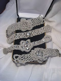 Handmade Crocheted Cuff Bracelets, used antique rhinestone jewelry
