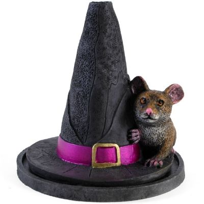 Witches Hat With Mouse Incense Burner designed by Lisa Parker. Holds one incense cone. Size approx 12cm. £8.50 from Clouds Online UK.