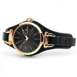 Hoops Jolie Rose Gold Black Leather Strap 2517LG01