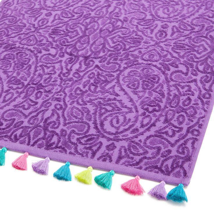 Toalla jacquard con pompones multicolor toallas y for Zara home toallas bano
