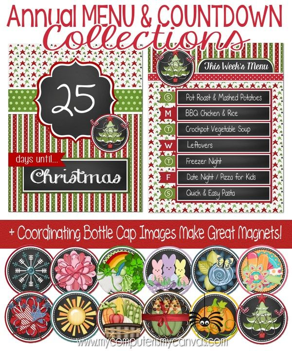 PRINTABLE Chalkboard Style MENU PLANNER and Holiday Countdowns, one for each month   coordinates with an annual set of bottle cap images for making magnets and other crafts. So cute, MUST PIN!