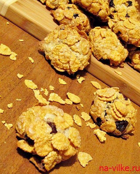 Печенье ореховое с изюмом и кукурузными хлопьями