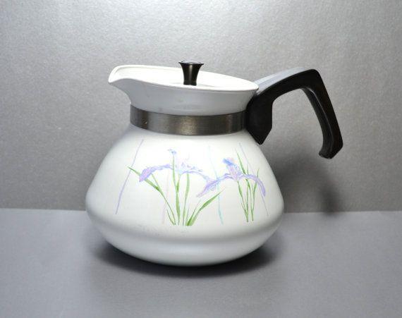Corning+Ware+Shadow+Iris+6Cup+White+Kettle/Tea+Pot+w+by+VintageDoe