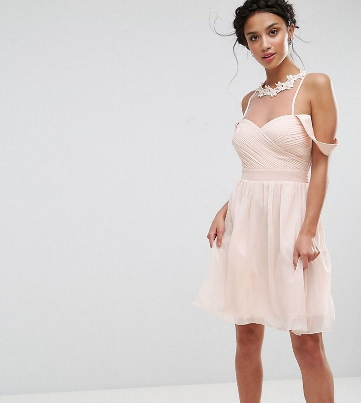 Little Mistress Petite Cold Shoulder Pleated Bust Mini Dress With Lace