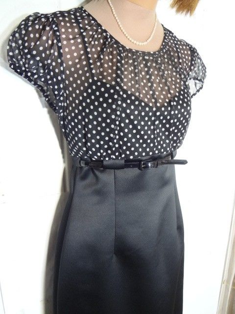 """Tahari BLACK SILK + TINY DOTS By Arthur S Levine """"little 2p Sheer+cami Dress. Free shipping and guaranteed authenticity on Tahari BLACK SILK + TINY DOTS By Arthur S Levine """"little 2p Sheer+cami DressEXCELLENT CONDITION, EXCELLENT TAILORING,  SUPER A..."""