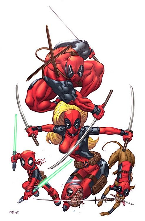 Deadpool's Katanas Origin Owners Deadpool's katanas are a set of sharpened swords composed of Carbonadium capable of deflecting powerful attacks and impacts such as bullets or explosives. Carbonadium is an element which can disrupt the Healing Factor of Mutants.
