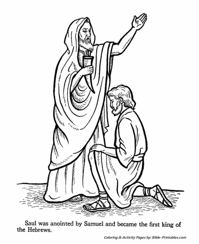 Samuel Anoints Saul King Coloring Page