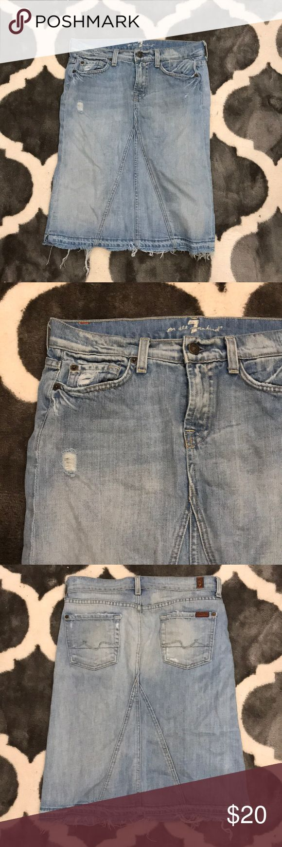 7 FAM distress Skirt 7 for all man kind distressed Jean skirt light wash 7 For All Mankind Skirts
