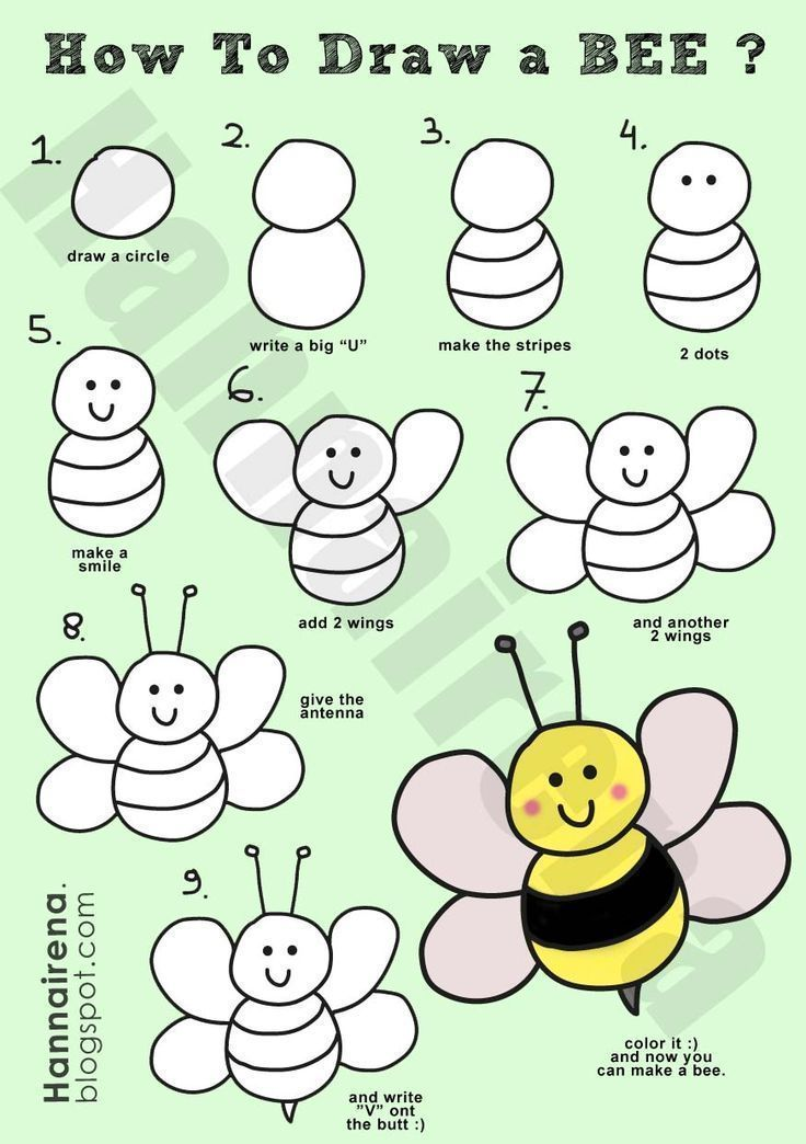 How to draw a simple bee how to draw a spring for Easy spring pictures to draw
