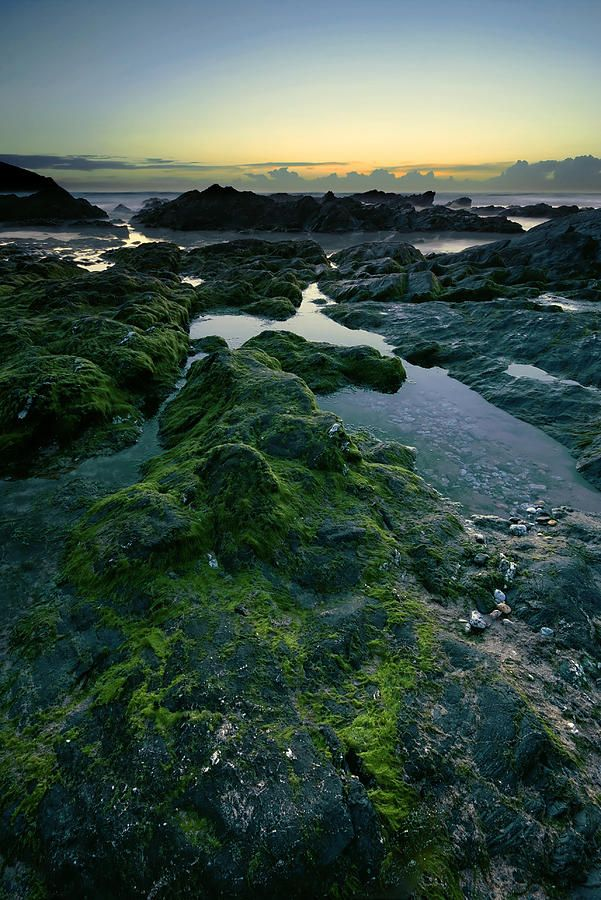 Dusk by the ocean in Newquay, Cornwall, UK