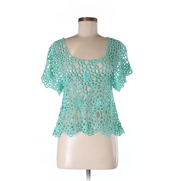 Verty Short Sleeve Blouse ($15) ❤ liked on Polyvore featuring tops, blouses, teal, short sleeve tops, short-sleeve blouse, teal blouse, short sleeve cotton tops and teal top