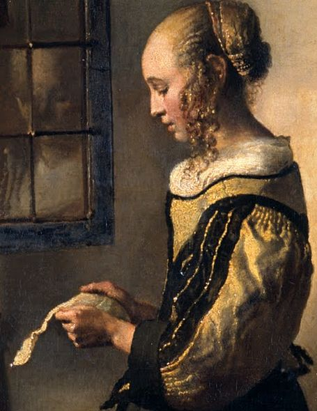 Detail      Johannes Vermeer, Girl Reading a Letter by an Open Window        c.1659