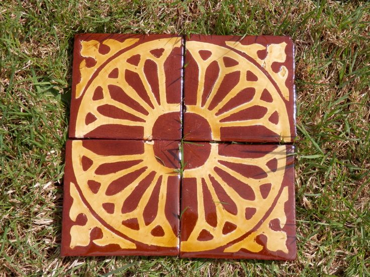 Gothic tracery - replica inlaid medieval tiles by Tanglebank Tiles