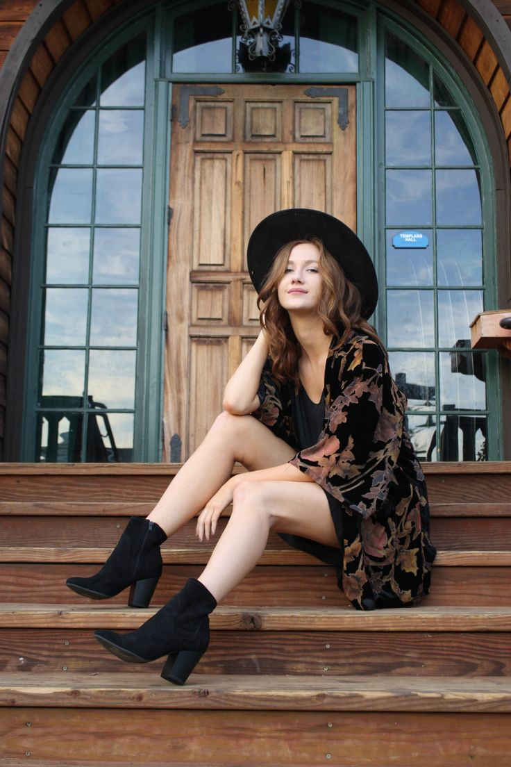 Black Floral Velvet by But What Should I Wear, fall outfit ideas, ankle booties, hat, little black dress, music festival outfits and more!