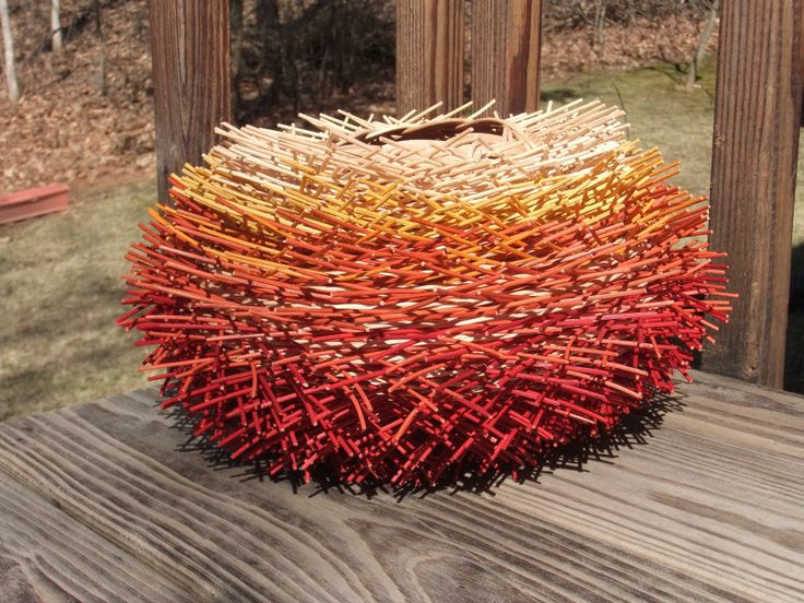 Another hairy basket.  Flame series #4.     Red Hot!  One of Nancy's baskets