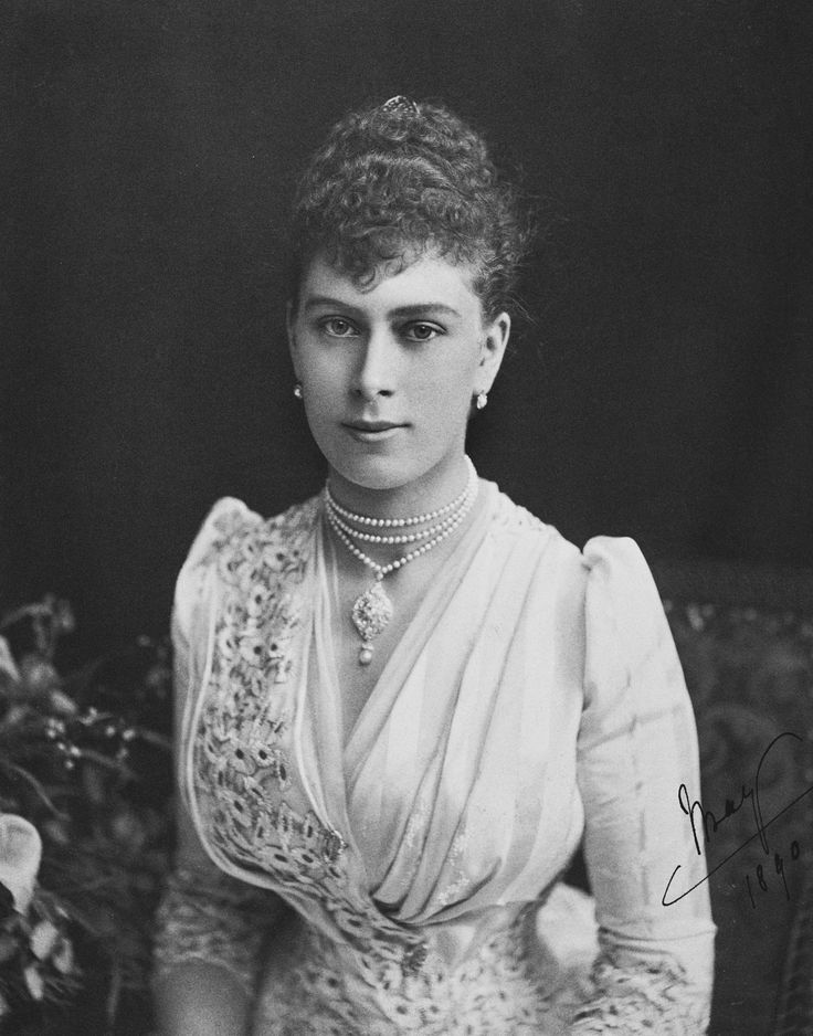1890 Description:  Photograph of Princess Victoria Mary of Teck, half-length portrait, seated; signed and dated