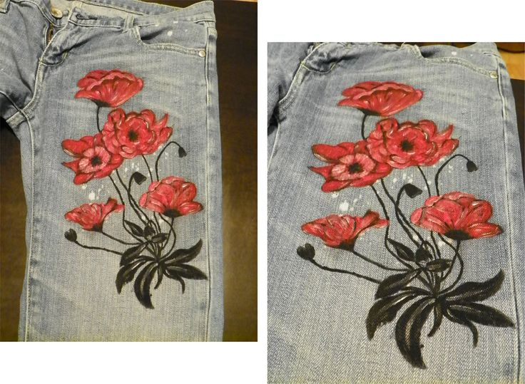 Hand painted jeans with fabric water resistant paint. You can wash it in the washing machine at max 40 degree delicate circle or by hand. Iron medium inside out. Execution time is generally within 7 days, but it may vary depending on the complexity of the order or how busy is the period.  Attention: the products are unique. If they are not in stock and you would like something alike you should know that the handmade and any other copy will not be identical.