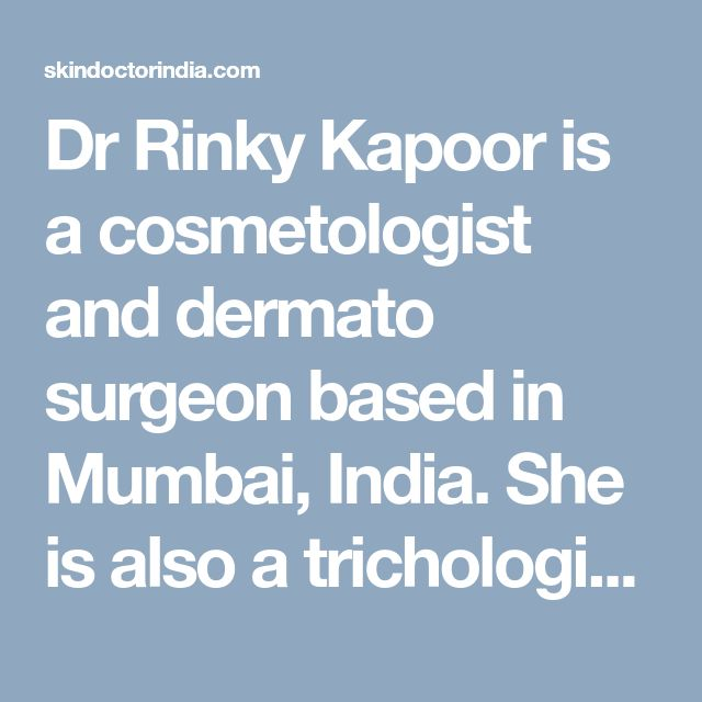 Dr Rinky Kapoor is a cosmetologist and dermato surgeon based in Mumbai, India. She is also a trichologist providing treatment for hair diseases like Alopecia Areata etc. For more information on Alopecia Areata and its cure, visit http://skindoctorindia.com/alopecia/